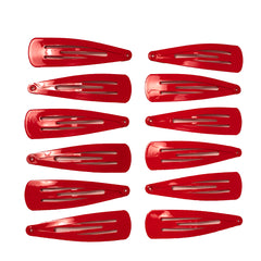 Mia® Spirit Line Snip Snaps® high gloss paint - red color - 12 pieces shown out of the packaging - designed by #MiaKaminski of #MiaBeauty #beauty #hair #hairclips #hairaccessories #barrettes