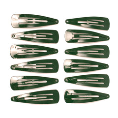 Mia® Spirit Line Snip Snaps® high gloss paint - dark green color - 12 pieces shown out of the packaging - designed by #MiaKaminski of #MiaBeauty #beauty #hair #hairclips #hairaccessories #barrettes