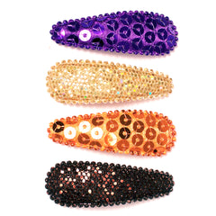 Mia® Spirit Sequin Snip Snap hair clip barrettes - purple, gold, orange, brown color - by #MiaKaminski of Mia Beauty
