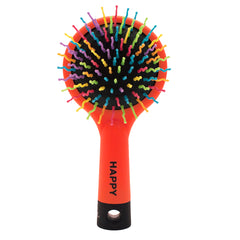 Mia® Happy Brush™ 2 in 1 detangling brush with a mirror on the back - orange color -  by #MiaKaminski of Mia Beauty