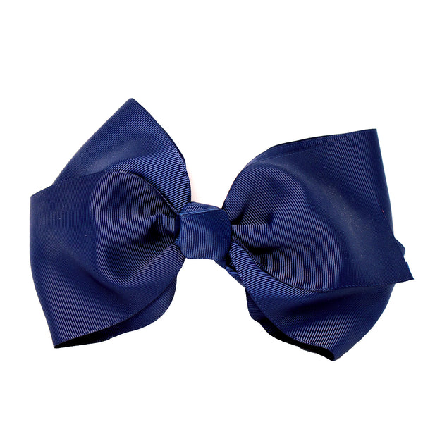 X-Large Grosgrain Bow Barrette - Navy Blue