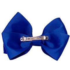 Mia Spirit Extra Large Grosgrain Bow Barrette - royal blue color - back side shown - designed by #MiaKaminski of Mia Beauty