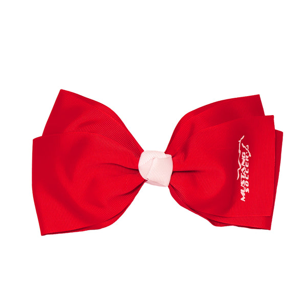 X-Large Grosgrain Bow Barrette With Contrast Center - Mustang Soccer