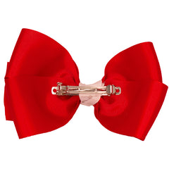 Large Grosgrain Bow Barrette with contrast center-Red with White center