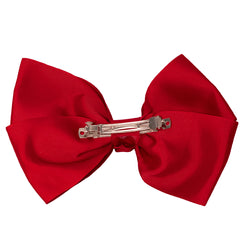 Mia Spirit Extra Large Grosgrain Bow Barrette - maroon red color - back side shown - designed by #MiaKaminski of Mia Beauty