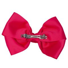 Mia Spirit Extra Large Grosgrain Bow Barrette - hot pink color - back side shown - designed by #MiaKaminski of Mia Beauty