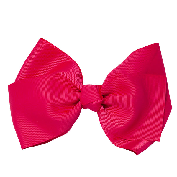 X-Large Grosgrain Bow Barrette - Hot Pink