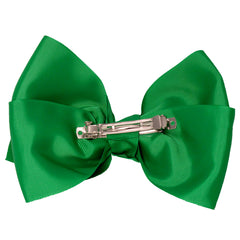 Mia Spirit Extra Large Grosgrain Bow Barrette - kelly green color - back side shown - designed by #MiaKaminski of Mia Beauty