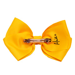 Mia Spirit Extra Large Grosgrain Bow Barrette - yellow color - back side shown - designed by #MiaKaminski of Mia Beauty