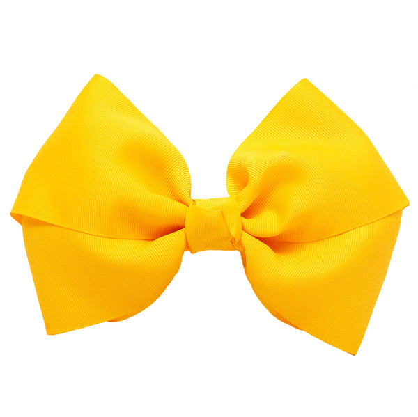 X-Large Grosgrain Bow Barrette - Yellow