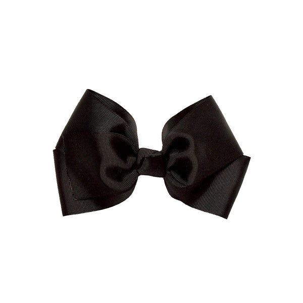 Large Grosgrain Bow Barrette - Black