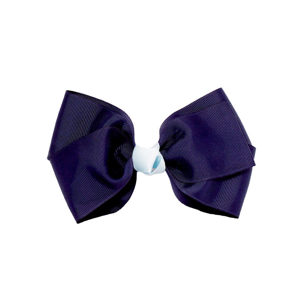 Large Grosgrain Bow Barrette + Contrast Center - Navy + Light Blue