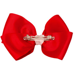 Mia Spirit Extra Large Grosgrain Bow Barrette - red Mustang Soccer color - back side shown - designed by #MiaKaminski of Mia Beauty