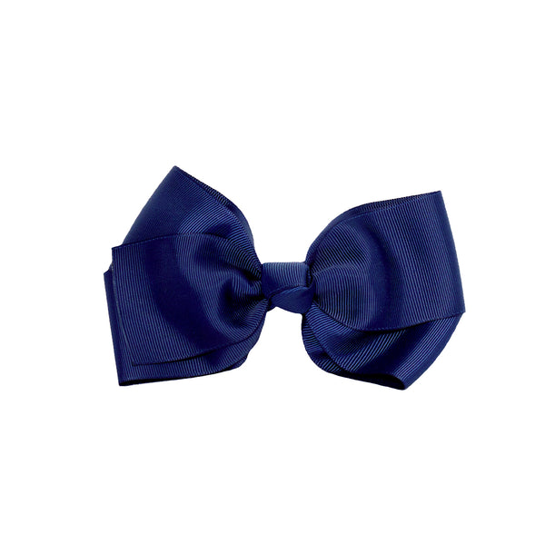 Large Grosgrain Bow Barrette - Navy Blue