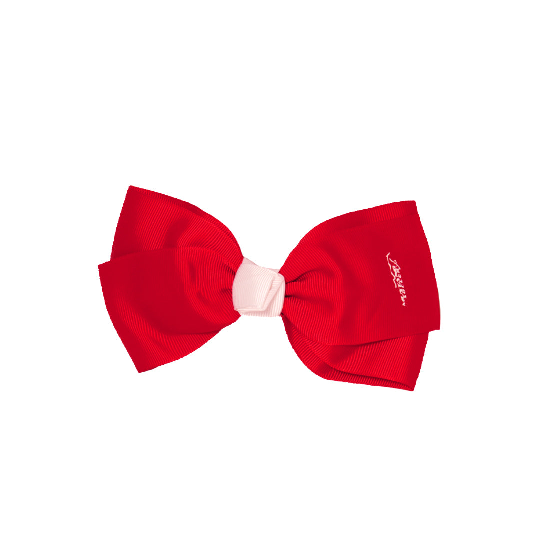 Mia® Spirit Large Hair Bow Barrette - hair accessory - red with white center - Mustang Soccer logo - by #MiaKaminski of Mia Beauty