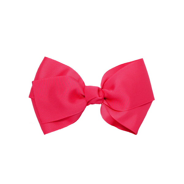 Large Grosgrain Bow Barrette - Hot Pink