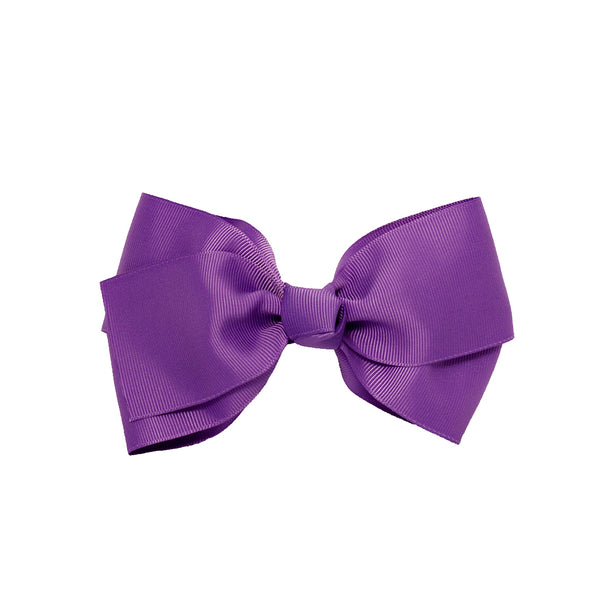 Large Grosgrain Bow Barrette - Purple