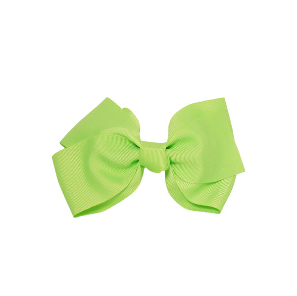 Large Grosgrain Bow Barrette - Lime Green