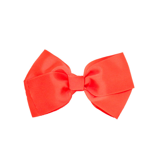 Large Grosgrain Bow Barrette - Neon Orange