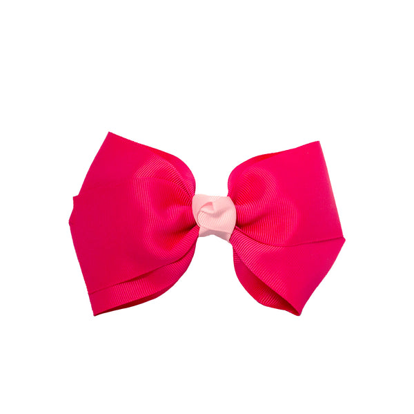 Large Grosgrain Bow Barrette With Contrast Center - Hot Pink With Light Pink Center