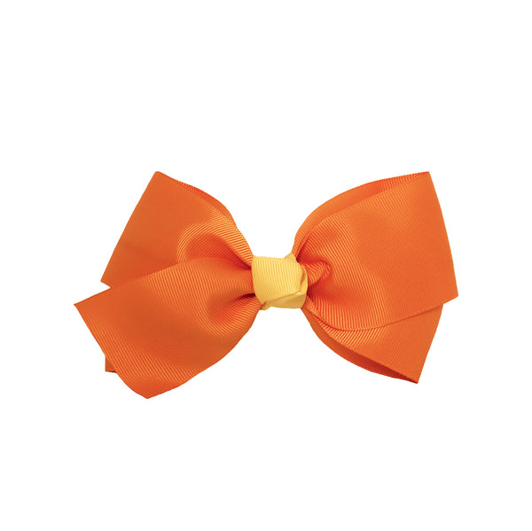 Large Grosgrain Bow Barrette With Contrast Center - Orange With Yellow Center