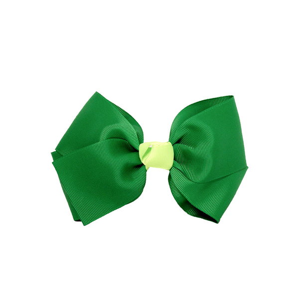 Large Grosgrain Bow Barrette + Contrast Center - Green + Lime Green