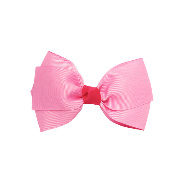 Large Grosgrain Bow Barrette With Contrast Center - Light Pink With Hot Pink Center