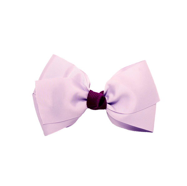 Large Grosgrain Bow Barrette With Contrast Center - Light Purple With Purple Center