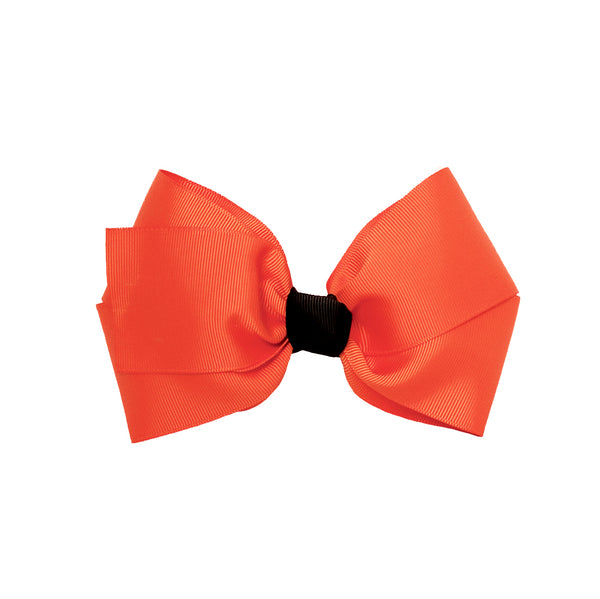 Large Grosgrain Bow Barrette + Contrast Center - Orange + Black
