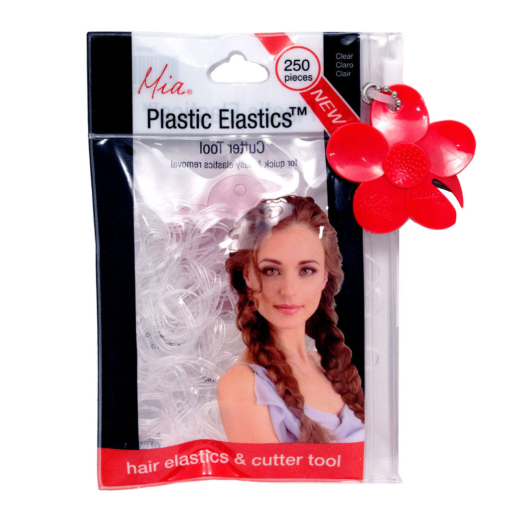 Mia® Plastic Elastics with Cutter Tool - shown in packaging - clear color - invented by #MiaKaminski of Mia Beauty #beauty #rubberbandsforhair #hairties #elastics #ponytails #braids #updos