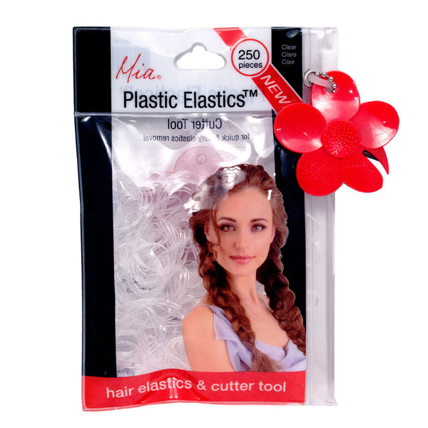 Plastic Elastics™ with CutterTool in zippered storage pouch- Clear (250 Pieces)