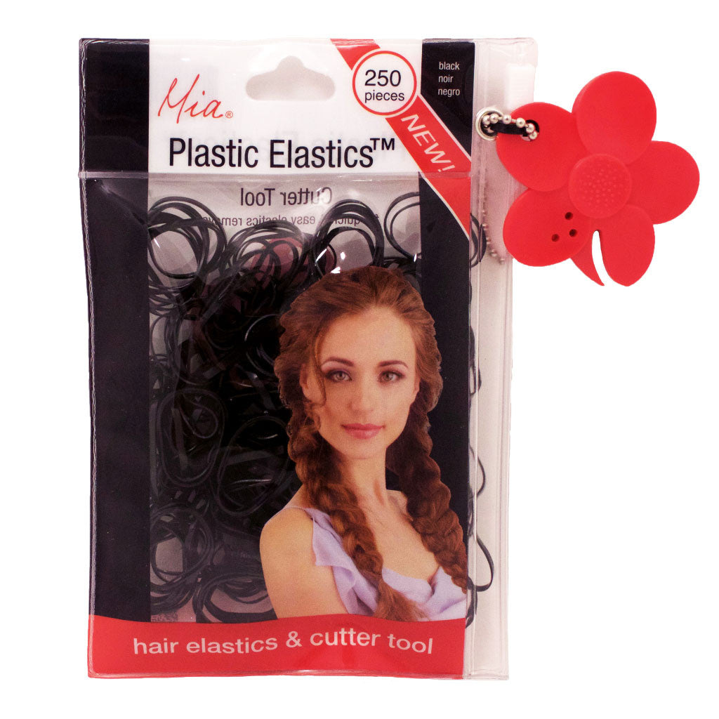 Mia® Plastic Elastics with Cutter Tool - shown in packaging - black color - invented by #MiaKaminski of Mia Beauty