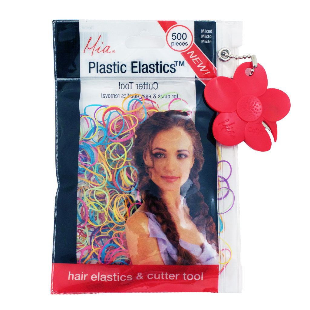 Mia® Plastic Elastics with Cutter Tool - shown in packaging - rainbow mixed colors - invented by #MiaKaminski of Mia Beauty