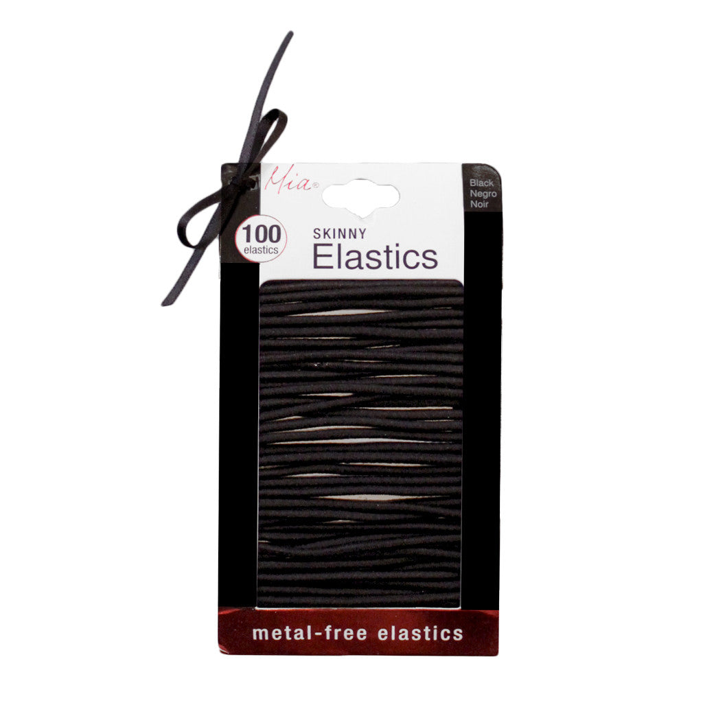 Large Skinny Elastics - Black - 100 Pieces - MIA® Beauty