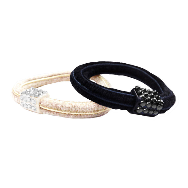 Rhinestone Elastics - Black with Black, White with Clear