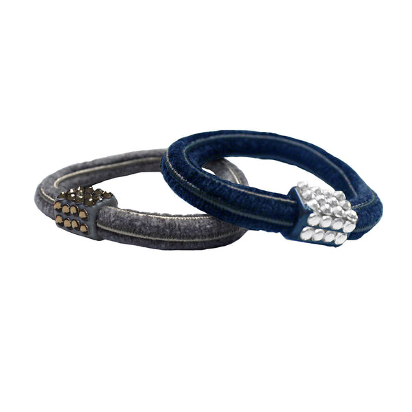 Rhinestone Elastics - Grey with Grey, Navy with Clear