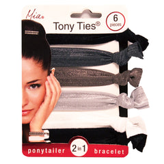 Mia® Tony Ties® basic knotted ribbon hair ties - black, gray, silver, black - Mia® Beauty #MiaKaminski