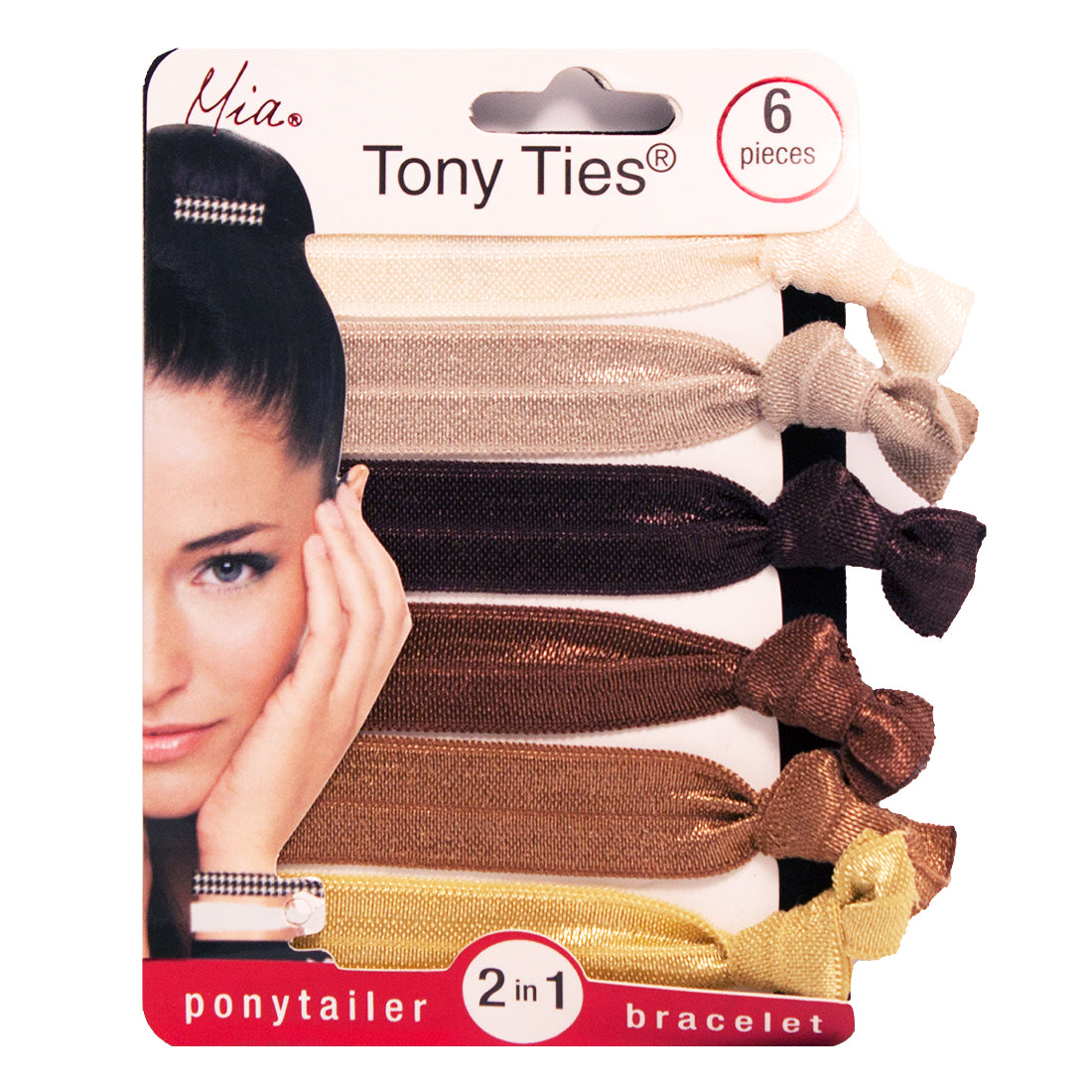 Mia® Tony Ties® basic knotted ribbon hair ties - cream, champagne, chocolate, brown, bronze, gold - Mia® Beauty #MiaKaminski