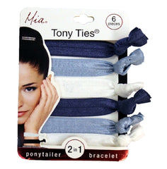 Mia Tony Ties® solids - navy blue, light blue, white - #MiaBeauty #Mia #beauty #hair #hairties #rubberbands