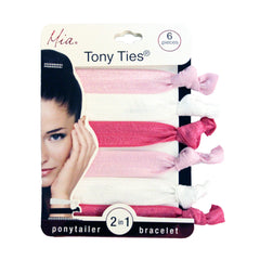 Mia® Tony Ties® Solid knotted ribbon hair ties - Hot Pink, Light Pink, White - Mia Beauty #MiaKaminski