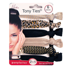 Mia® Tony Ties® knotted ribbon hair ties - beige, black, leopard - 6 pieces in packaging - designed by #MiaKaminski founder of Mia® Beauty