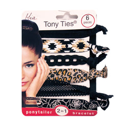 Mia® Tony Ties® knotted ribbon hair ties - black, lace, leopard, silver, flowers - 6 pieces in packaging - designed by #MiaKaminski founder of Mia® Beauty