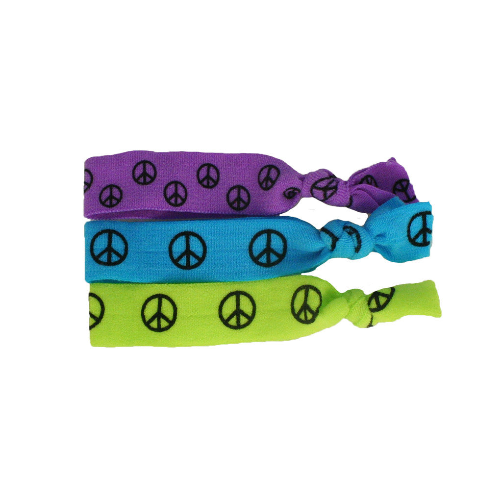 Mia Tony Ties® Neon - hair ties - Purple, Blue, Green Peace Sign - MIA® Beauty