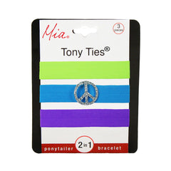 Mia® Tony Ties® with Charms - Green, Blue w/ Peace Sign, Purple - Mia® Beauty