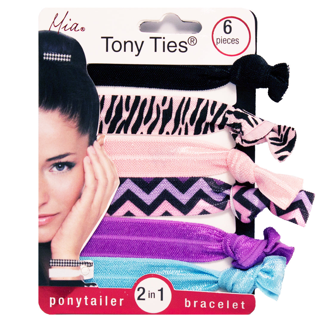 Mia® Tony Ties® knotted ribbon hair ties - black, zebra, pink, purple, blue, chevron - 6 pieces in packaging - designed by #MiaKaminski founder of Mia® Beauty