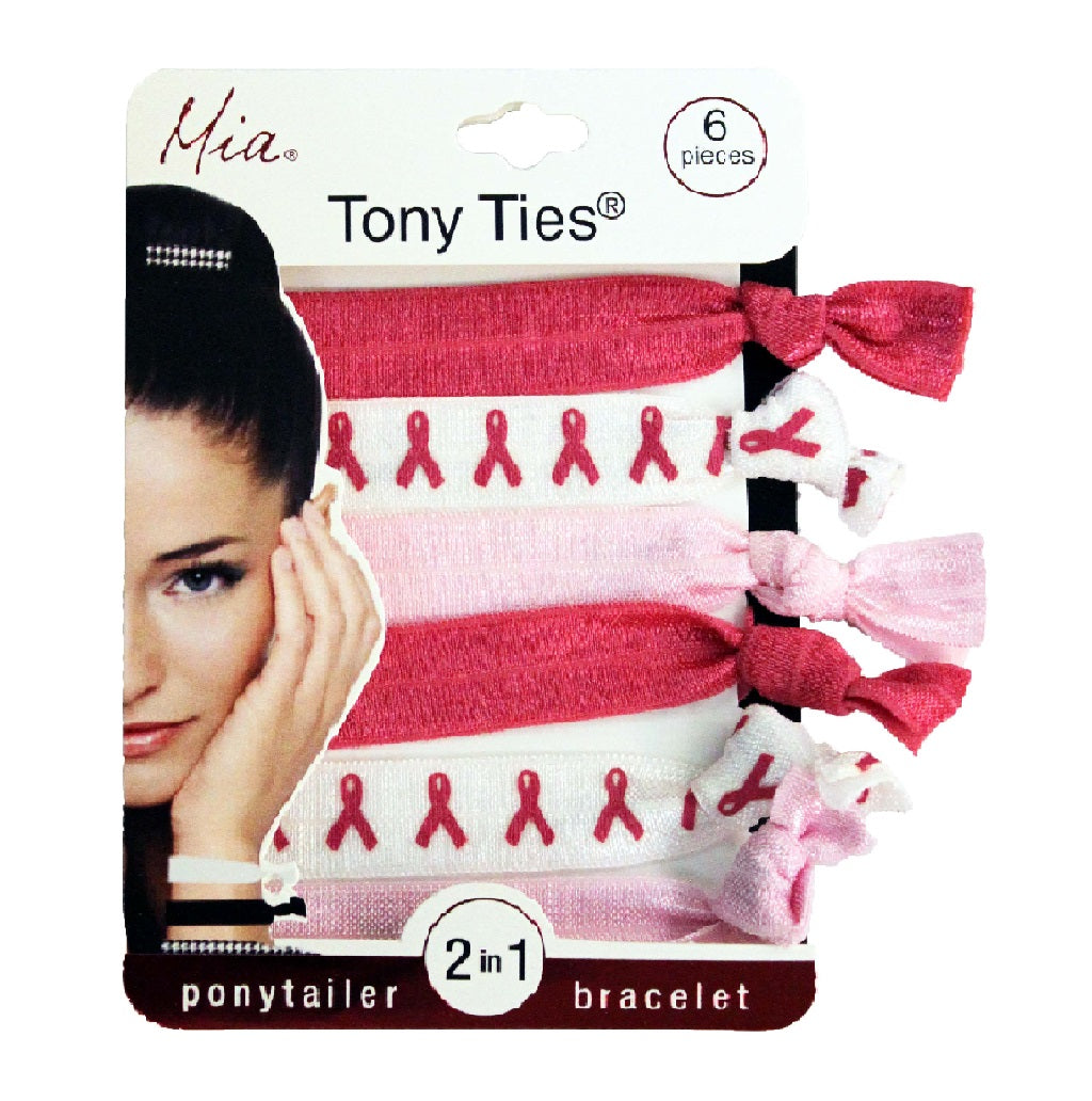 Mia Tony Ties® Prints - Hot Pink, White with Pink Cancer survivor Ribbon, Light Pink - #MiaBeauty #hair #hairties #beauty