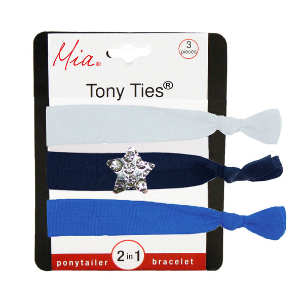 Tony Ties® Charms - White, Navy Blue w/ Silver Star, Light Blue