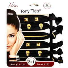 Mia Tony Ties® Studs - Metallic Stripes, Skulls, Gold, Silver, Black - MIA® Beauty - 1