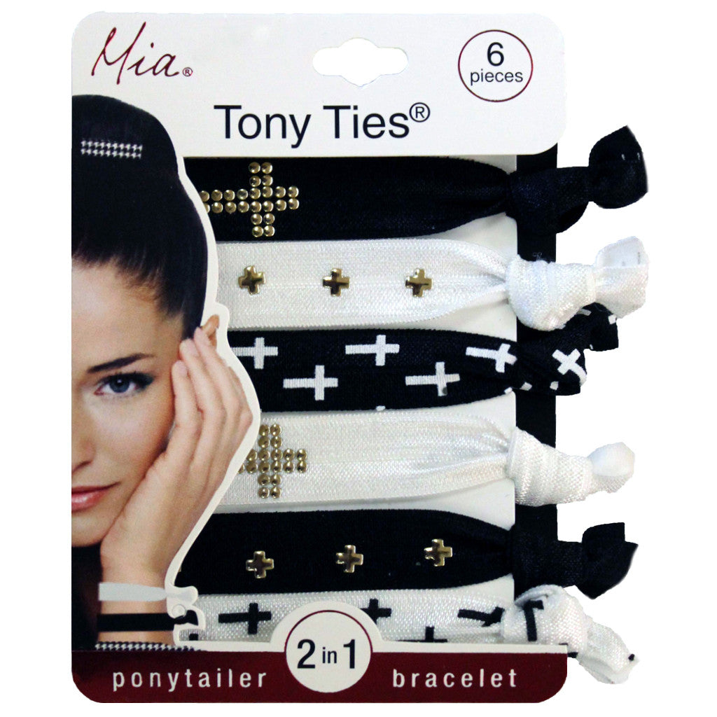 Tony Ties® Studs - Metallic Crosses on Black/White Gold, Silver - MIA® Beauty - 1
