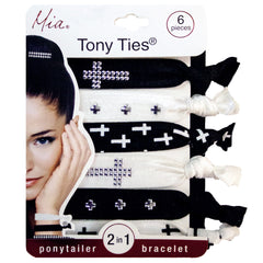Mia® Tony Ties® Studs - Metallic Studded Crosses - Silver - #MiaBeauty #HairTies #beauty #hair